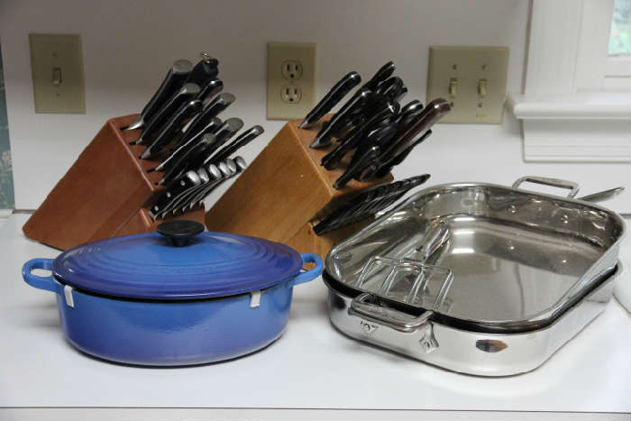 Unbelievable amount of high-quality cookware from All-Clad, Le Creuset, Wusthof, Henkels, Cutco...