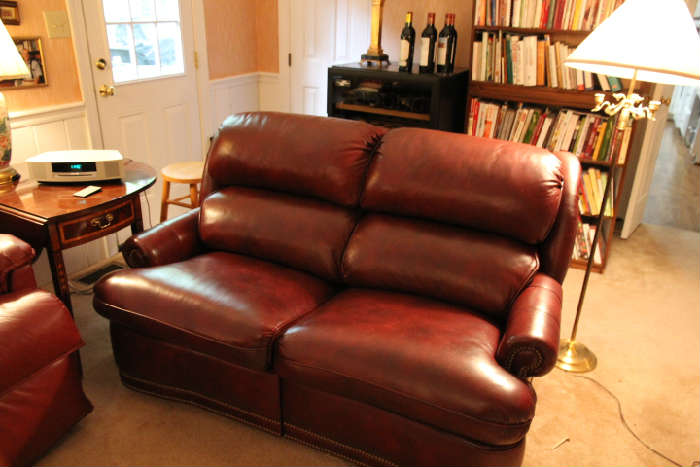 Fine hand made Hancock and Moore leather sofa with nailhead trim.