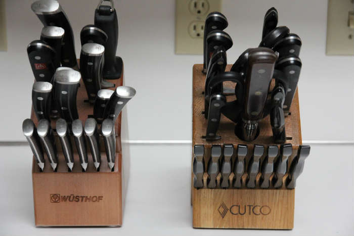 Wustof and Cutco knife sets.  There are many other knives from these companies, many still in the package with the original price.