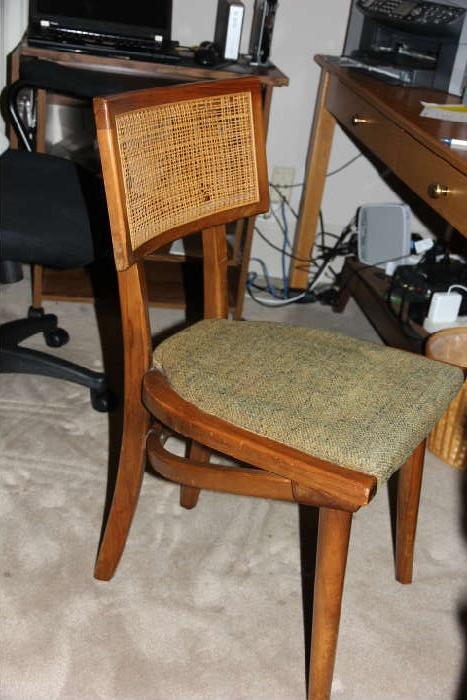 "Set of four Midcentury Modern ""Changebak"" chairs, purchased in 1964 (Siler City, NC manufacturer).  Slight repair needed to caning on one or two of the chairs."
