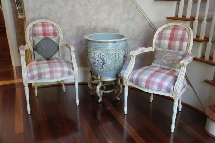 Fine chairs in foyer, covered in beautiful French silk.  Contemporary Chinese fishbowl purchased in 1987 in Hong Kong.