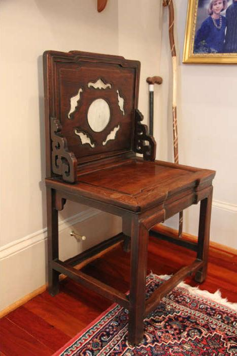19th Century Chinese rosewood chair with marble inserts