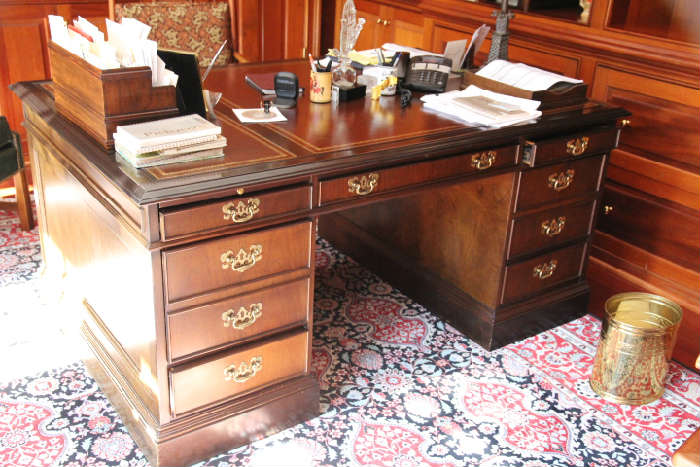 Impressive partner's desk from Sligh Furniture of Grand Rapids, Michigan.