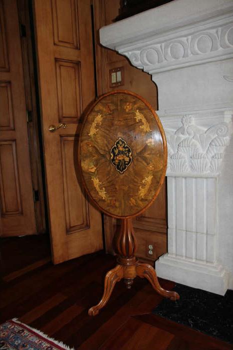 Antique Scottish inlaid walnut tilt-top table.