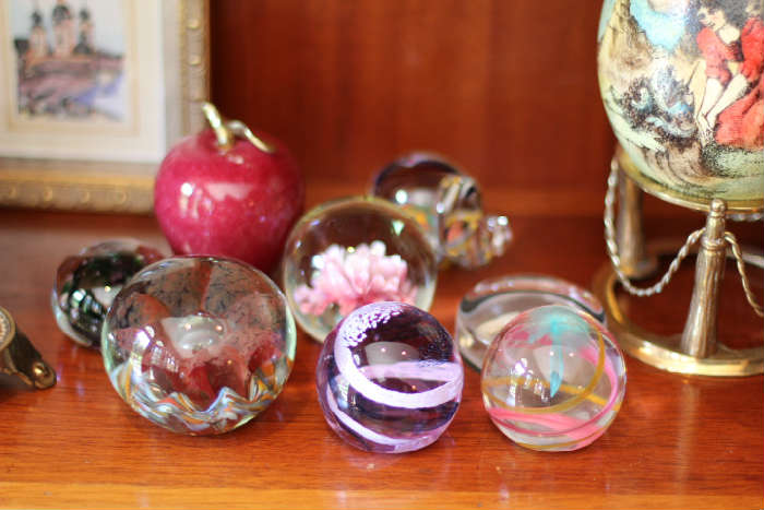 Art glass paperweights - two signed Caithness
