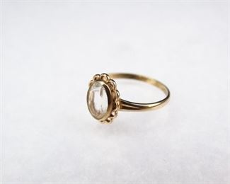 10K Rose Gold Ring with White Stone, Size 5