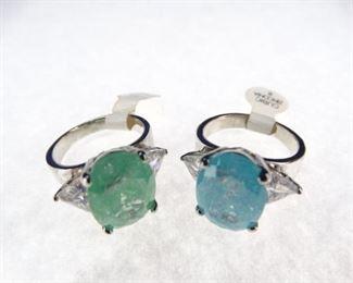 Decorative, Matching CZ Gemstone Rings, Size 6