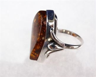 925 Silver & Amber Ring, Size 7