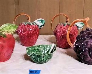 PPT004 Lovely Pottery Barn & Other Fruit-Shaped Pitchers