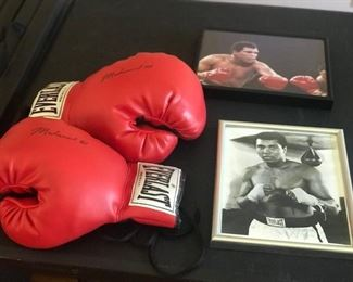 Muhammad Ali Signed Gloves with Pictures of the Star Framed