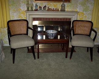 Black Lacquer with Cane Back Chairs