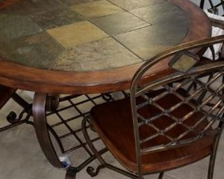 Iron, Slate, and Oak Table with 4 Chairs and Bakers Rack (next picture)