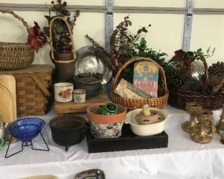 Baskets, florals, Antique basket