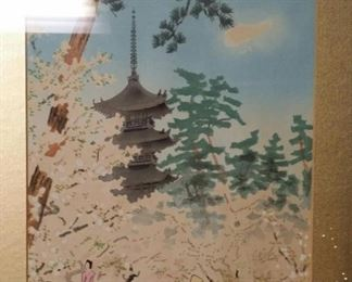 tbs Japanese pagoda park in Spring watercolor