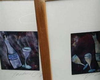 tbs signed pair wine pastels