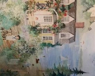 tbs Victorian summer cottage oil painting