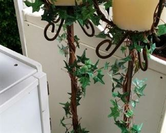 tbs pair wrought iron ivy covered candle stands
