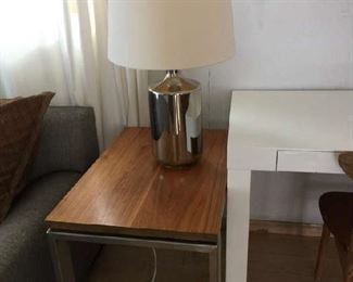 Chrome and wood side table