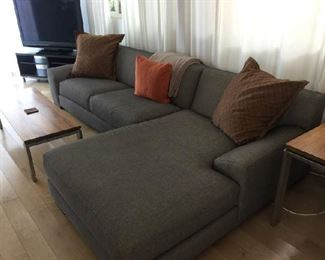 Large grey/brown Shenandoah Sectional sofa. (Room and Board)