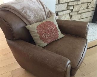 Weathered Leather chair and ottoman