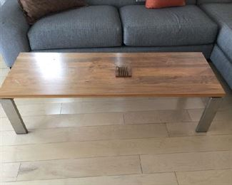 Mid Century Chrome and wood coffee table