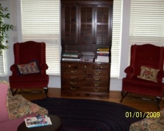 Ethan Allen Bookcase/Chest abd Pair Burgundy Wing Back Chairs