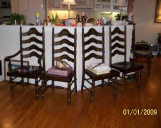 Four Dark Pine Ladder Back Chairs