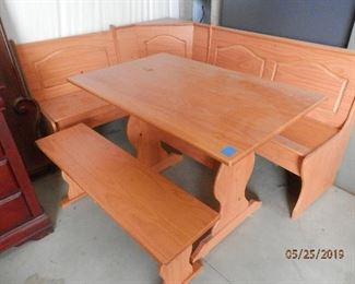 Pine Corner Booth....under seat storage