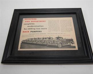 Vintage Fire Truck Advertising