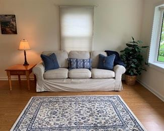 IKEA Couch with removable slip cover, pillows, lamp, table and plant.  Rug is not for sale.