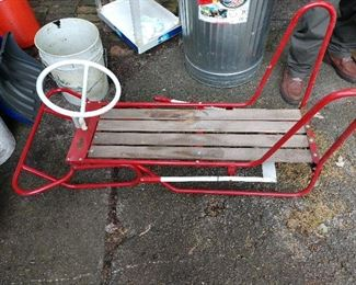 ***COOL** VINTAGE RED/ WHITE SLED...by FOX