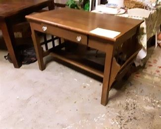 Late arrival!  Really fine antique mission desk with side racks