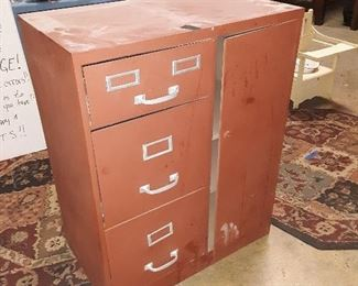 Late arrival!  Metal painted cabinet