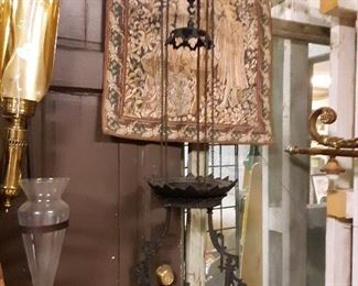 1863 Iron Horse kerosene lamp.... moves up and down on chain pulleys for light control.... Google search these guys!@