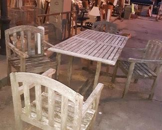 TEAKSCAPE brand patio set!  Dont b fooled by patina!  Gorgeous set and solid construction