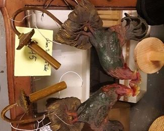 Pair of rooster wall lamp sconces