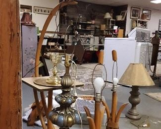 Great trip set of wood MCM lamps and a unique brass MCM lamp