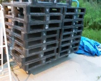 Plastic pallets-- rated at 2000#s.... $134 new cost each!!  Makes an awesome floor in shop
