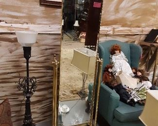 Dresher Brass full length mirror from 70s... current price on modern version is $3800!  Mint condition!!
