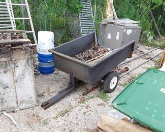 Tilt drop trailer for lawnmower or 4 wheeler