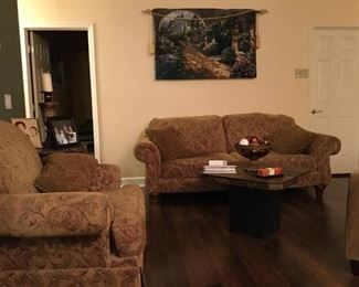 Very gently used sofa with chair and ottoman. Stone end tables.