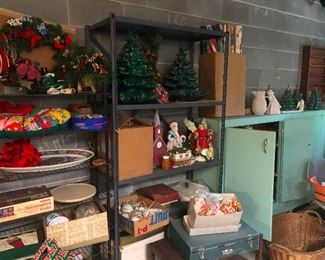 CHRISTMAS stuff! Oooh, I love that blue metal cabinet on the right. Fight me for it!