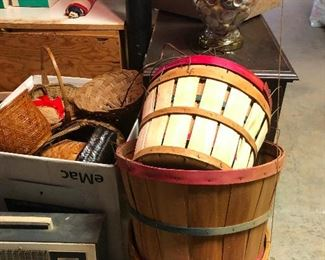 apple baskets and vintage heater. (disaster waiting to happen)