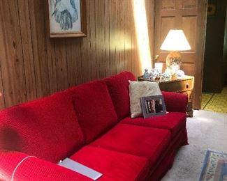 I'm back! SCARLET Letter red sofa