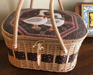 Blue Goose sewing basket. I have a friend named Grant who, if you branded this before him, he will melt into a pool of steaming goo, screaming.