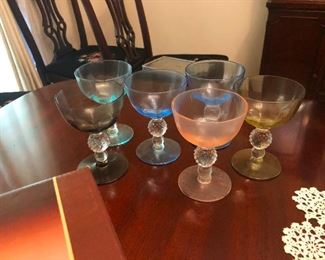colorful glass sherbet bowls