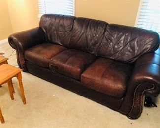 Loved real leather sofa from Havertys, very comfortable even though it's worn.