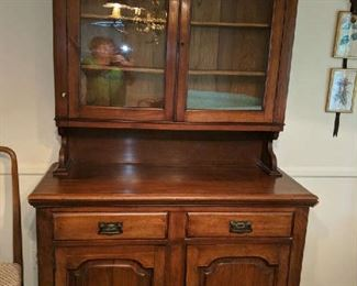 """$100  Maple china cabinet   47"""" W x 80"""" H"""