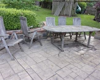 Teak table and chairs.
