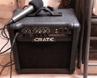 Crate amplifier with microphone.